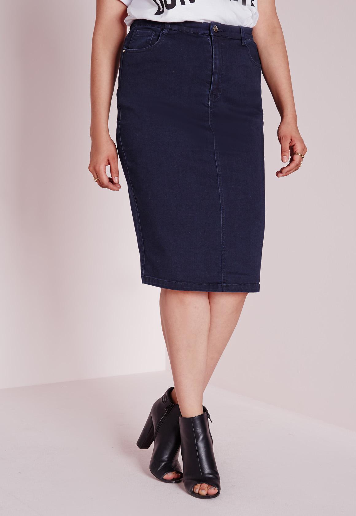 missguided plus size midi denim skirt indigo in blue lyst