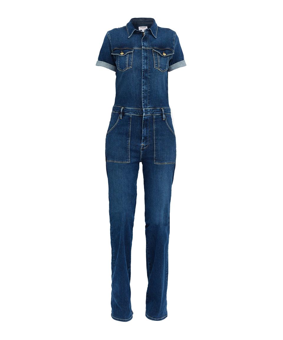 Frame Blue Le Mechanic Short Sleeve Flare Jumpsuit in Blue | Lyst