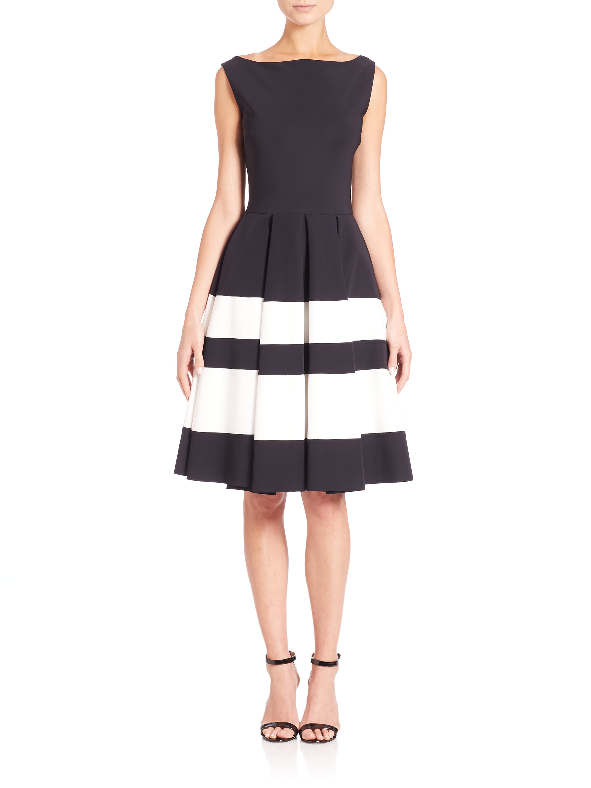 lyst la petite robe di chiara boni sleeveless boatneck fit flare dress in black. Black Bedroom Furniture Sets. Home Design Ideas