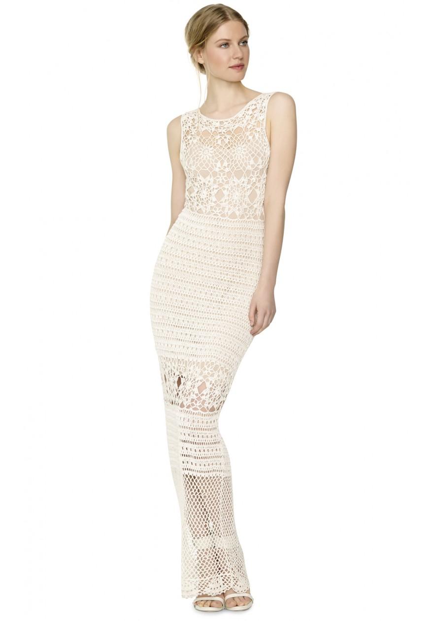 Lyst - Alice + Olivia Amari Crochet Long Dress in Natural