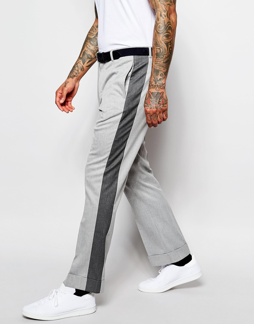 04f5cb15 ASOS Wide Leg Trousers With Side Stripe in Gray for Men - Lyst