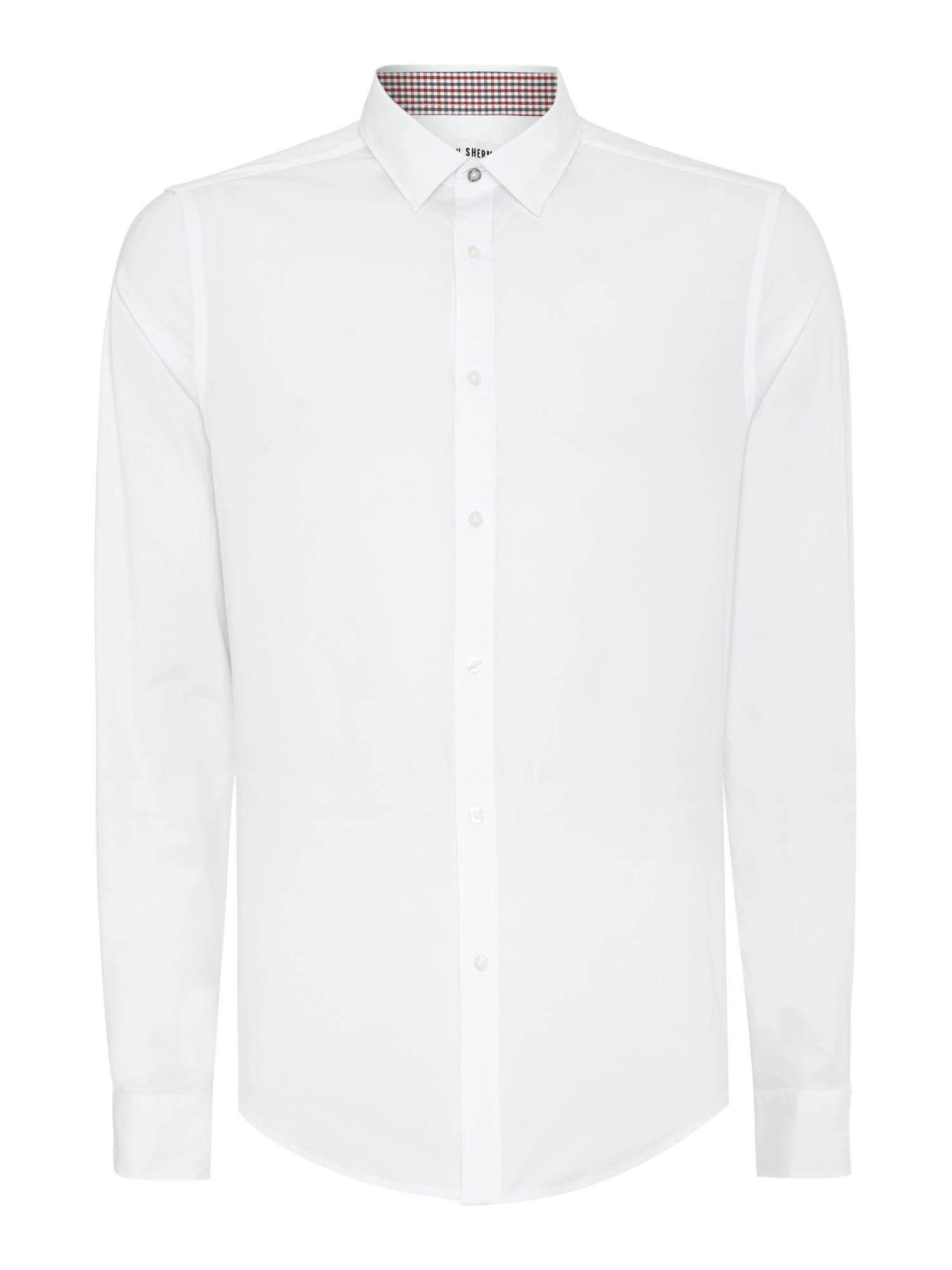 Ben sherman stretch poplin long sleeve shirt in white for for Long sleeve poplin shirt