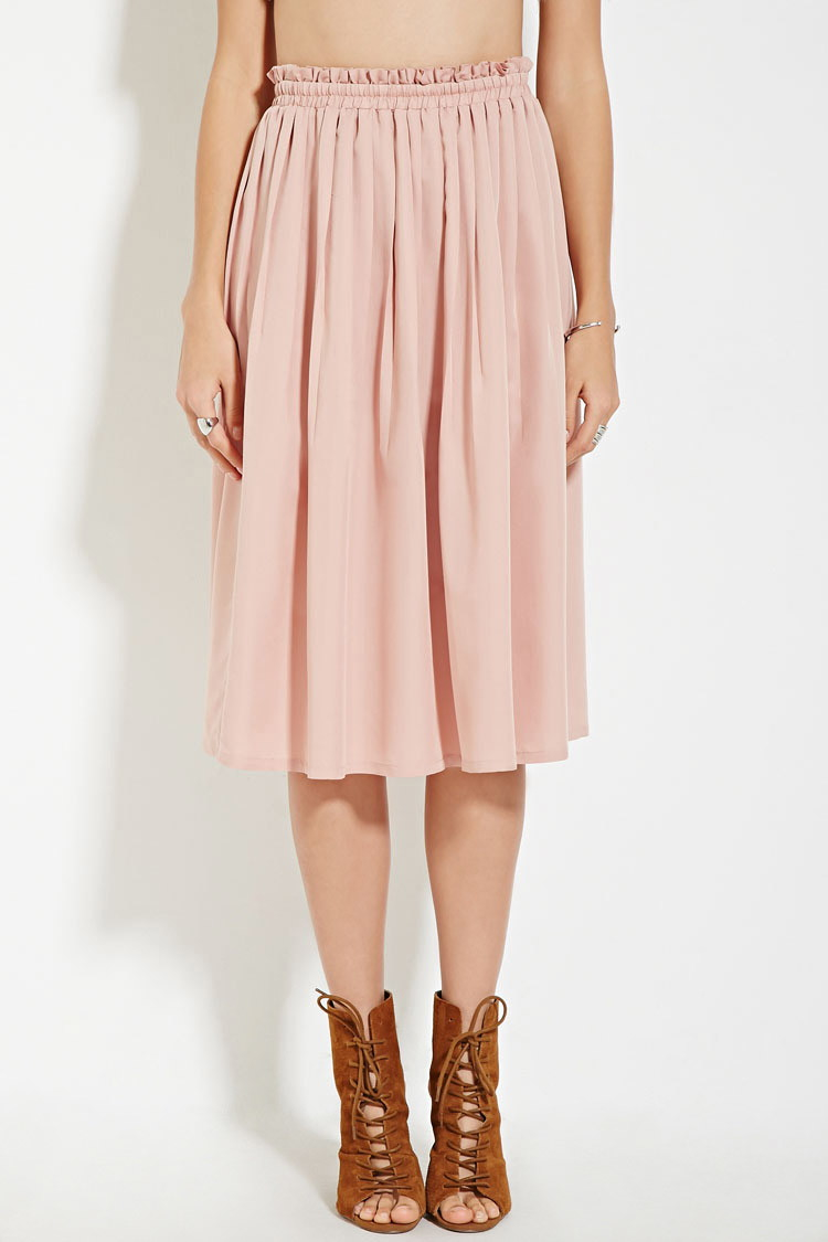 Forever 21 Contemporary Pleated A-line Skirt in Pink | Lyst
