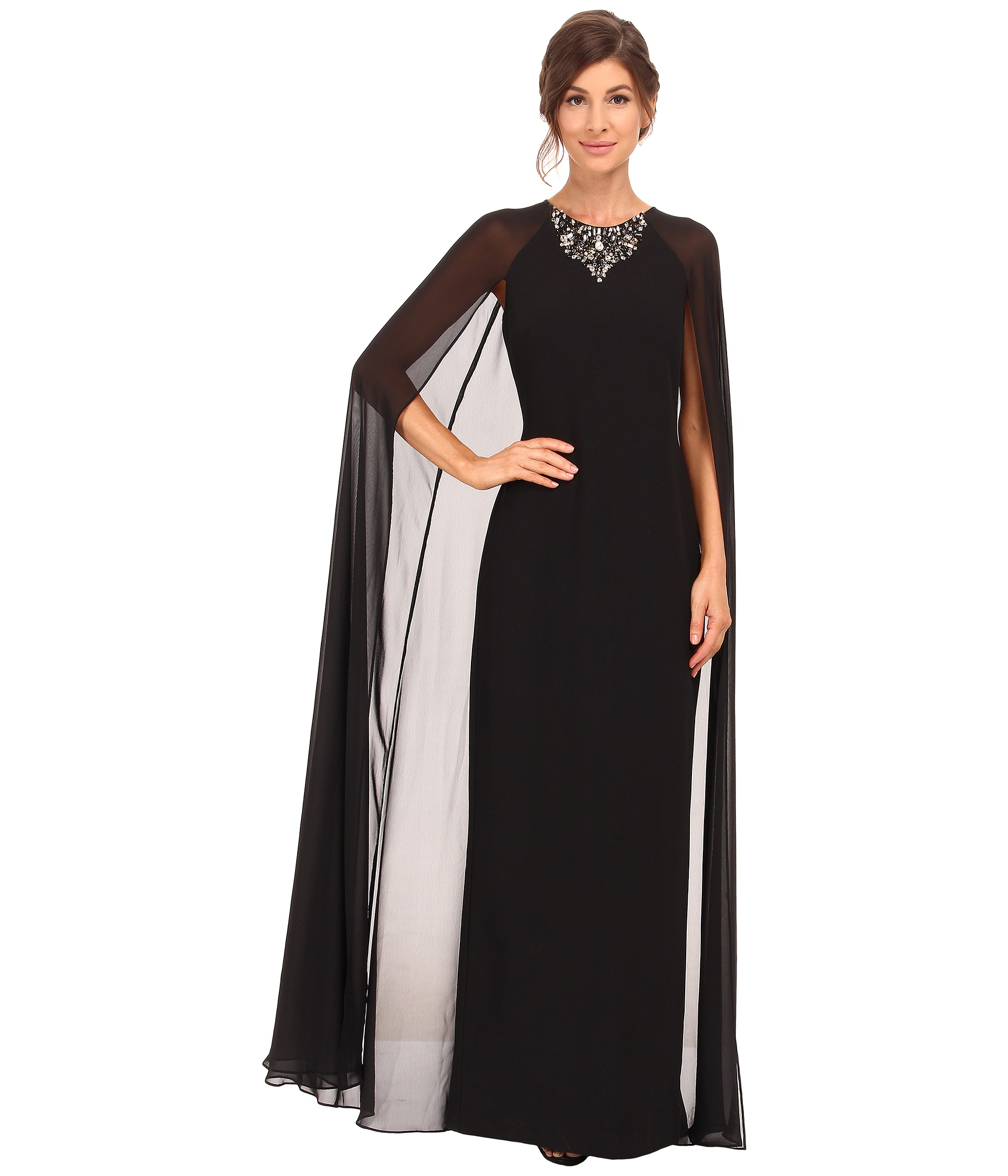 Vince camuto Fitted Crepe Gown W/ Chiffon Cape in Black | Lyst