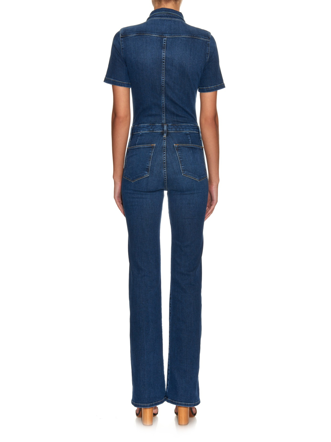 Frame Le Mechanic Flared Jumpsuit in Blue | Lyst