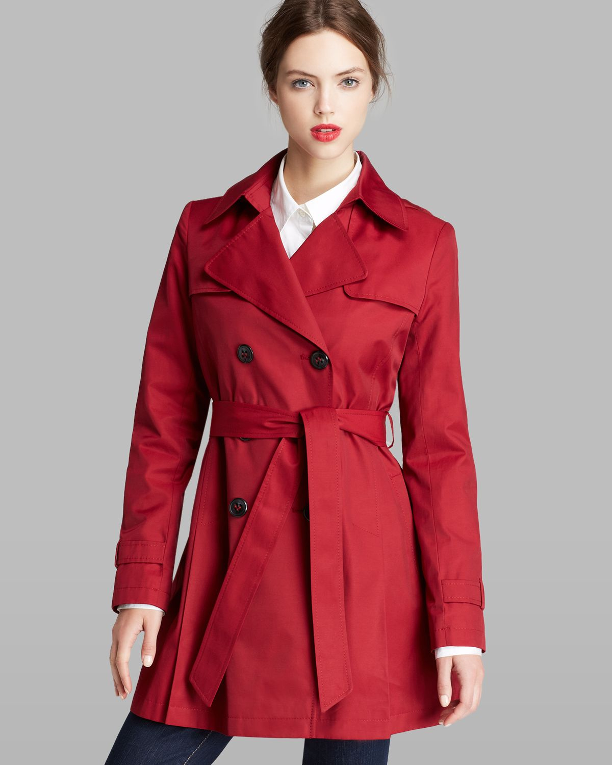 Dkny Trench Coat Double Breasted Hooded in Red | Lyst