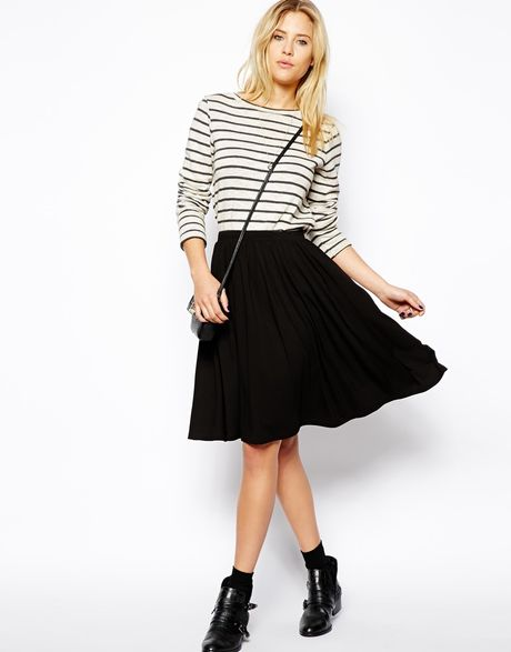 asos midi skater skirt in black lyst