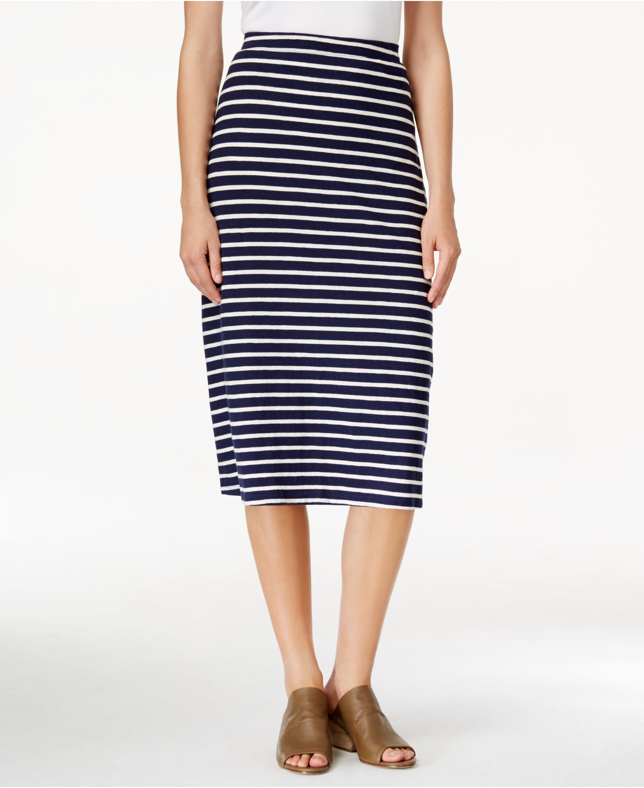eileen fisher striped print a line midi skirt in blue lyst