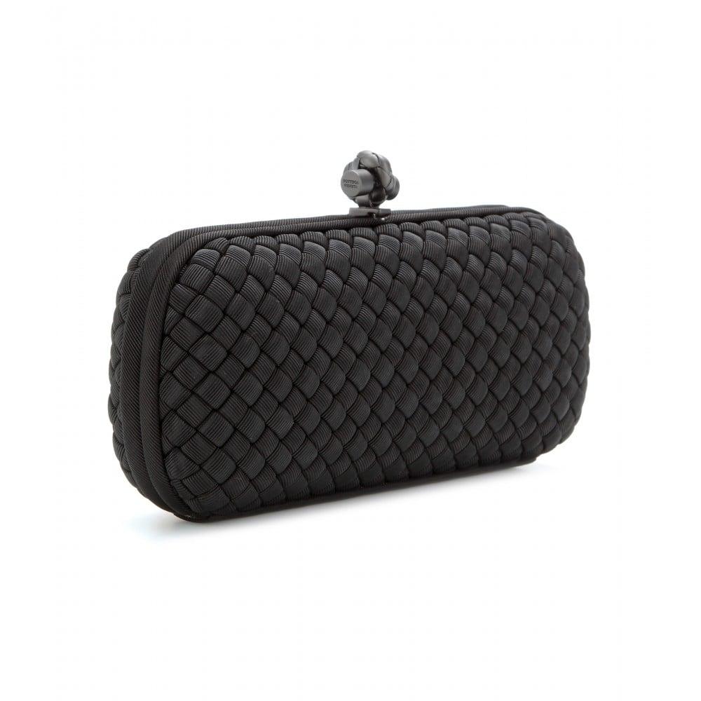 bottega veneta stretch knot grosgrain intrecciato baguette clutch in black lyst. Black Bedroom Furniture Sets. Home Design Ideas