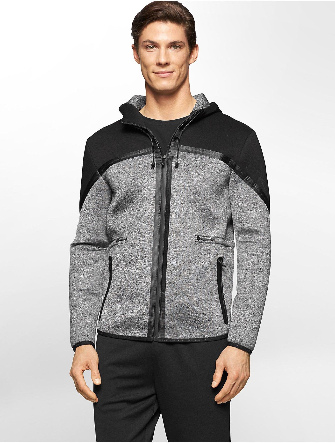 calvin klein performance neoprene proton zip front hoodie in gray for men lyst. Black Bedroom Furniture Sets. Home Design Ideas