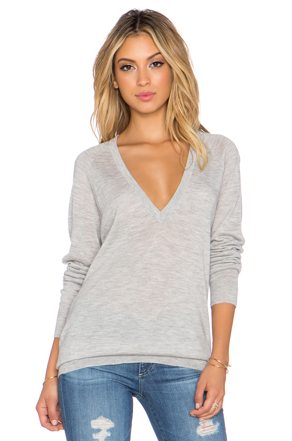 Equipment Kelsey V Neck Cashmere Sweater in Gray | Lyst