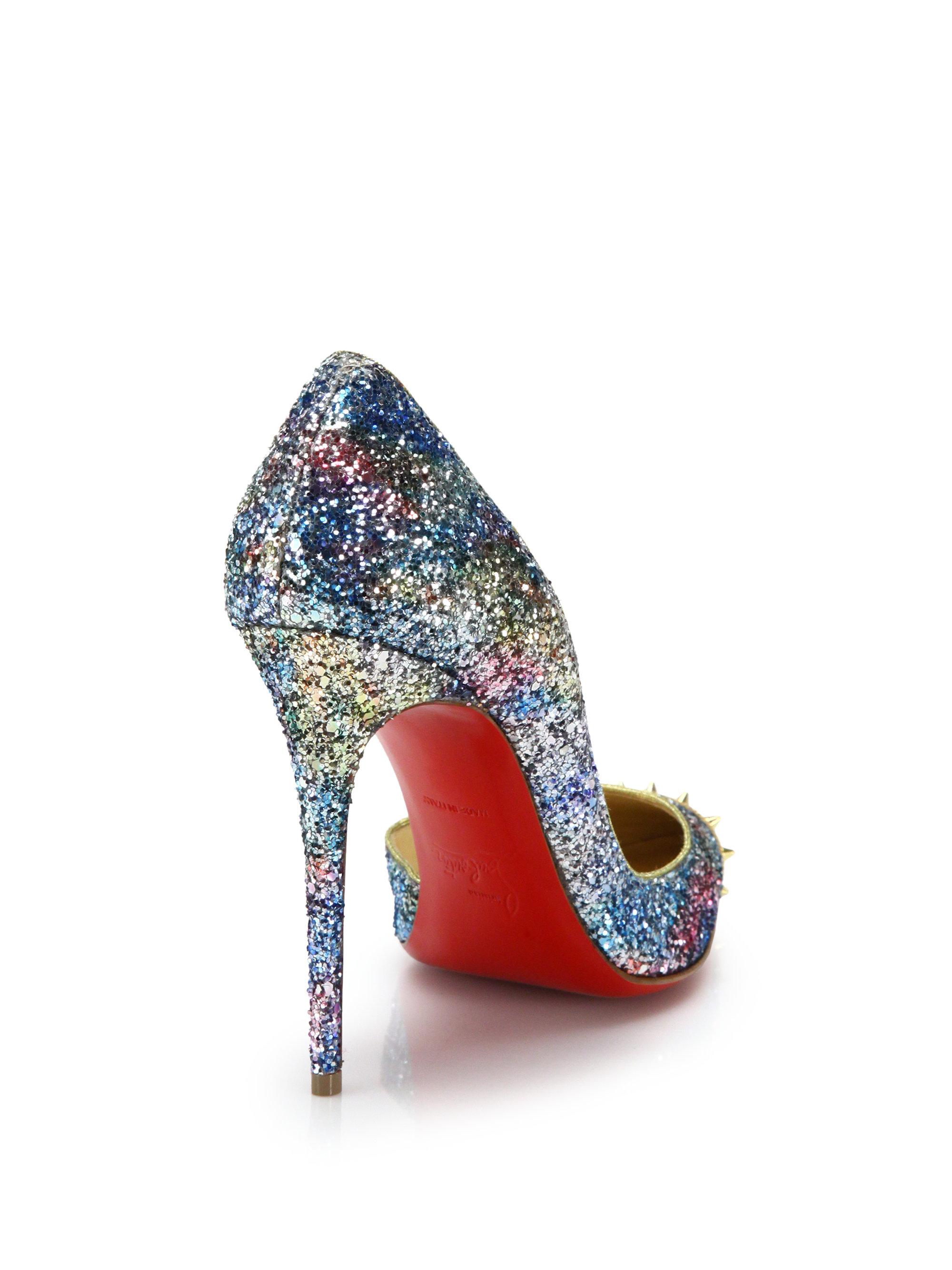 ... replica men shoes - Christian louboutin Leather Glitter D orsay Pumps  in Multicolor .. christian louboutin metallic ... 2494fa22e