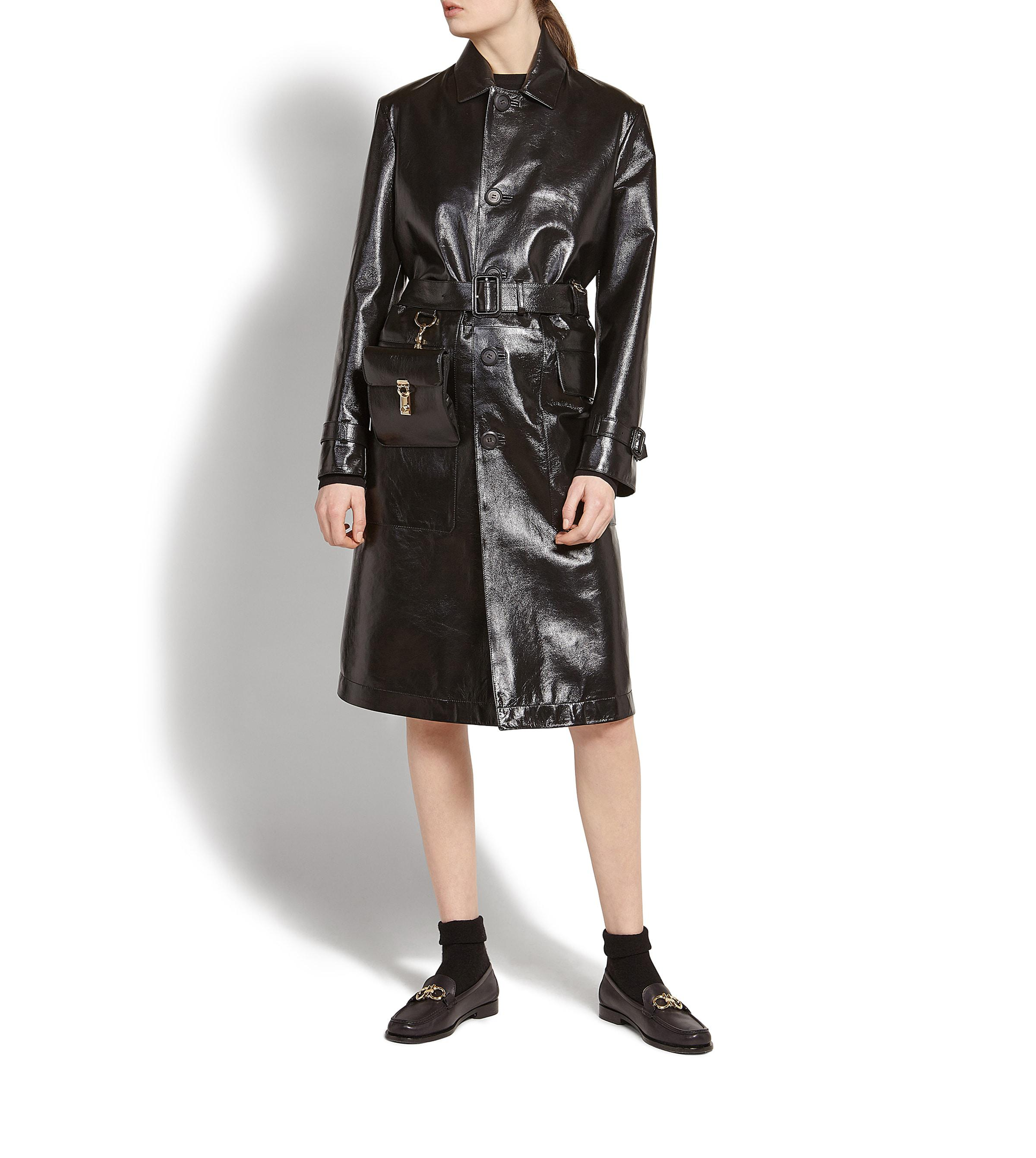 833de7daec6d Lyst - Ferragamo Patent Nappa Leather Trench Coat in Black
