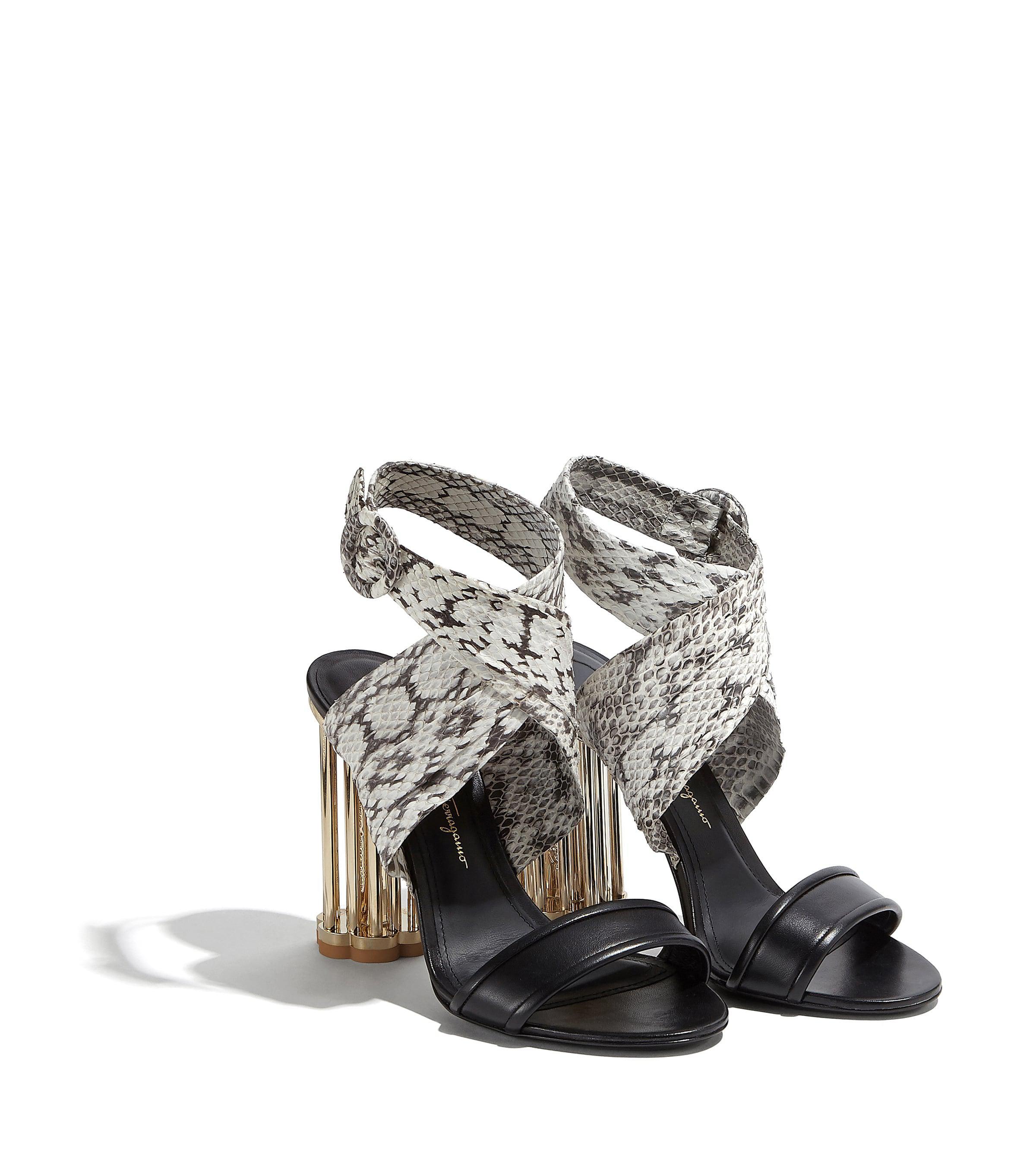 43c7dea09c01 Lyst - Ferragamo Criss-cross Sandal With Cage Flower Heel in Black