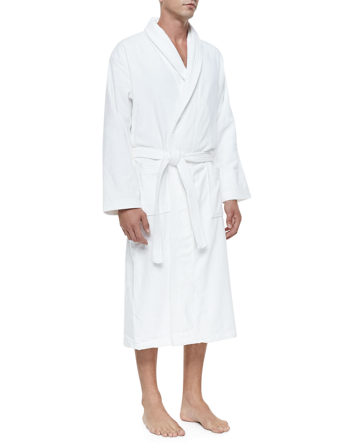 derek rose terry cloth robe in white lyst. Black Bedroom Furniture Sets. Home Design Ideas
