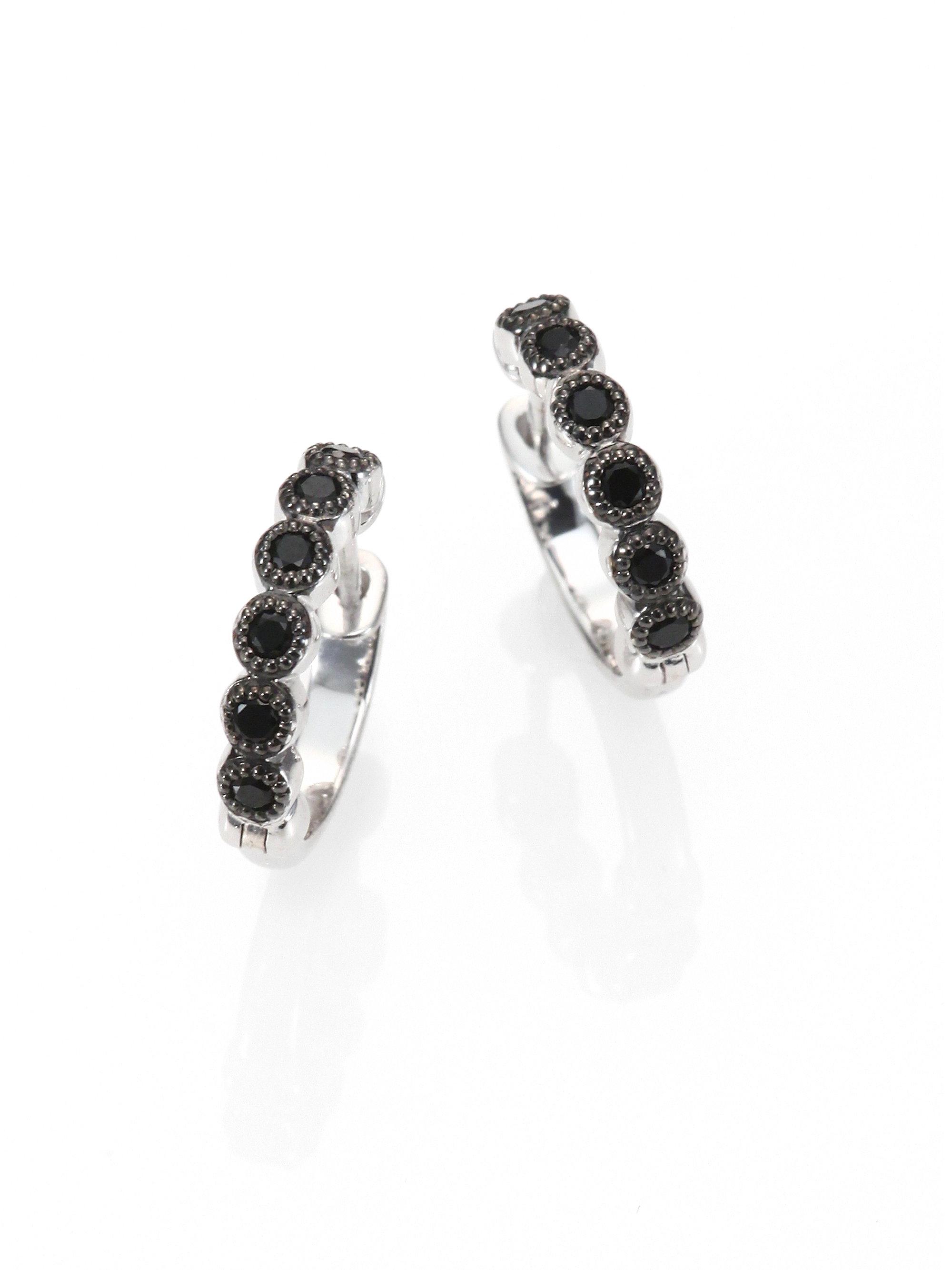 Lyst Jude Frances Black Spinel Sterling Silver Hoop Earrings 0 5