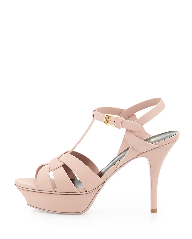 0a50ebde4d6 Saint Laurent Tribute Mid-heel Leather Platform Sandal in Pink - Lyst