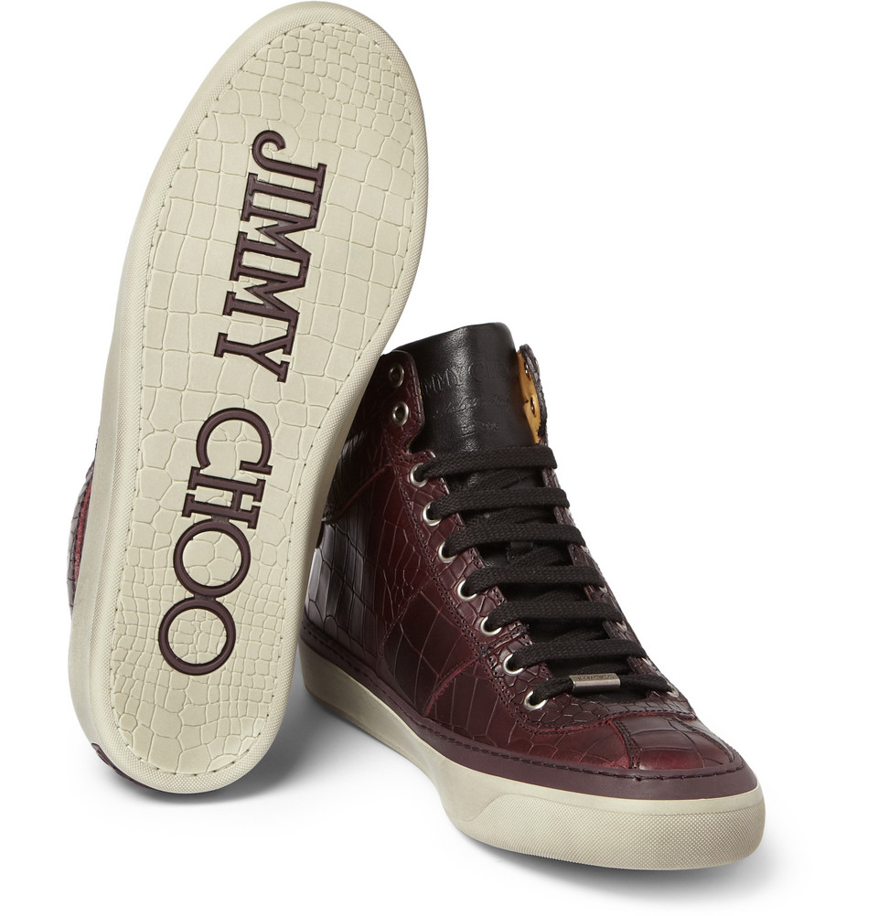 baeaae8c919 Lyst - Jimmy Choo Belgravia Crocodile-Embossed Leather High Top ...