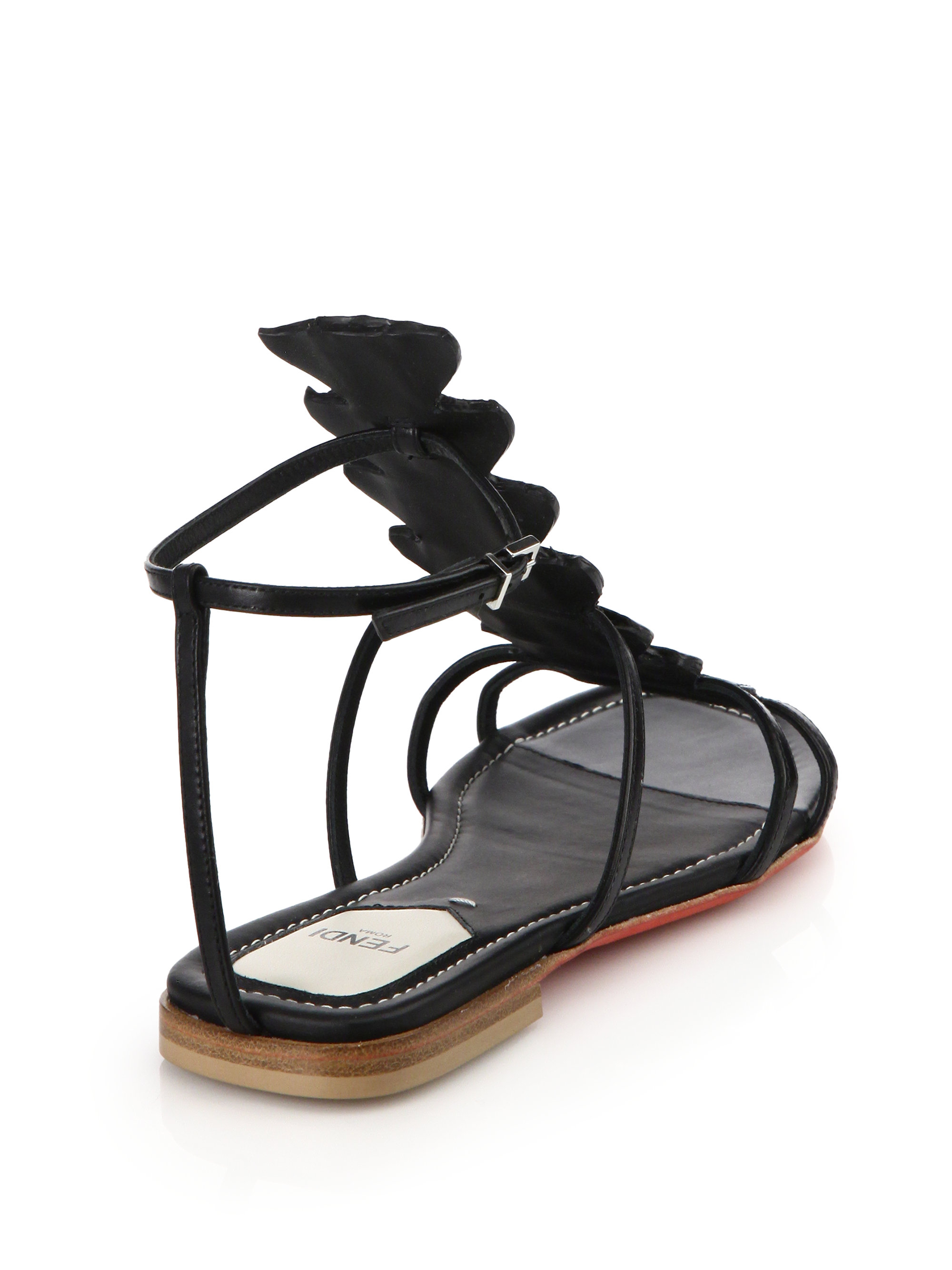 15e9e54506f Lyst - Fendi Ava Crocodile   Leather Flat Sandals in Black