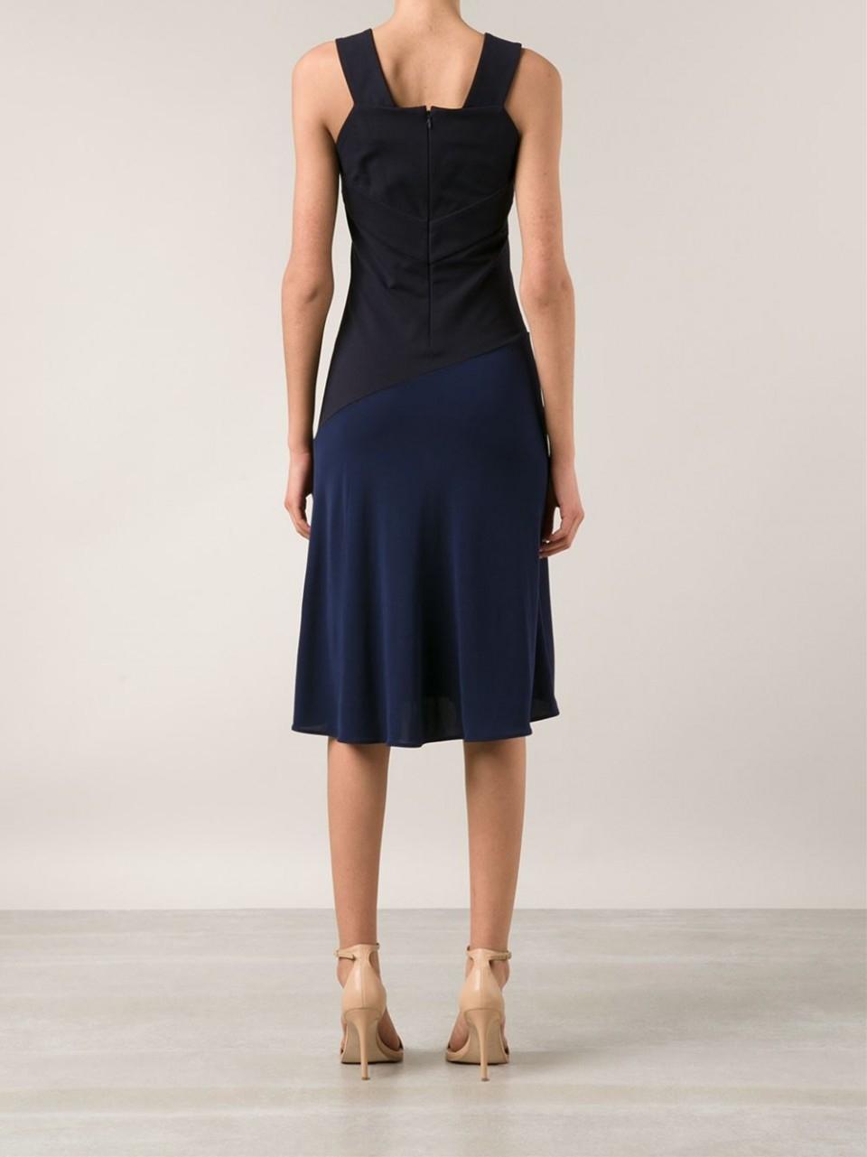 Lyst - Stella McCartney Fitted Midi Dress in Blue