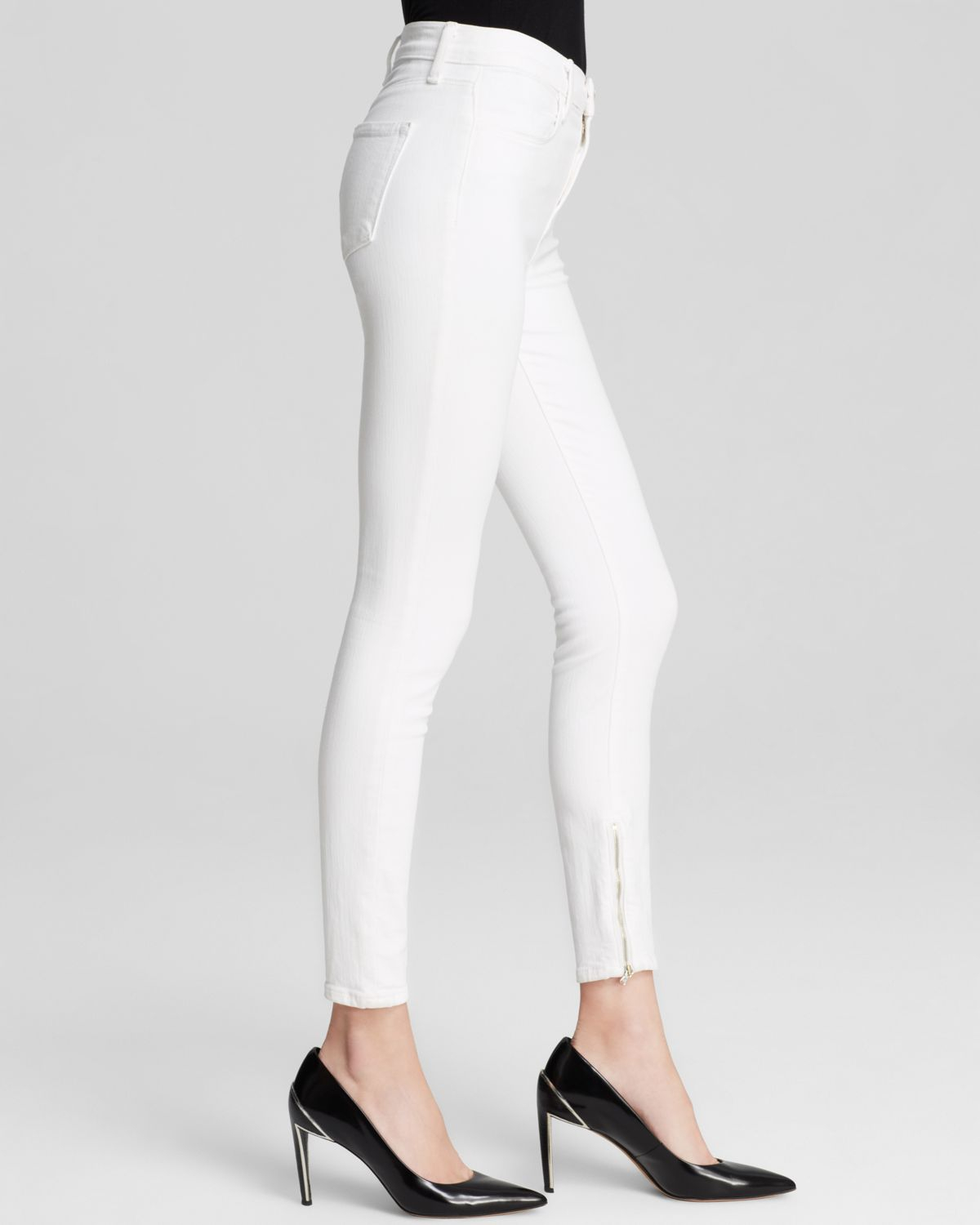 J brand Jeans - High Rise Hanna Zip Skinny In Blanc in White | Lyst