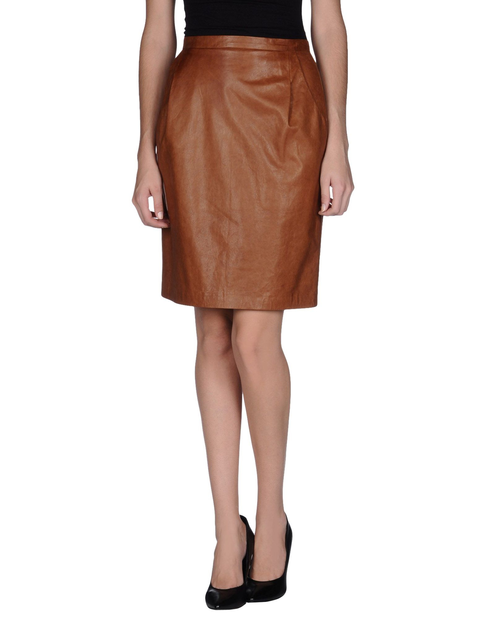 ermanno scervino leather skirt in brown lyst