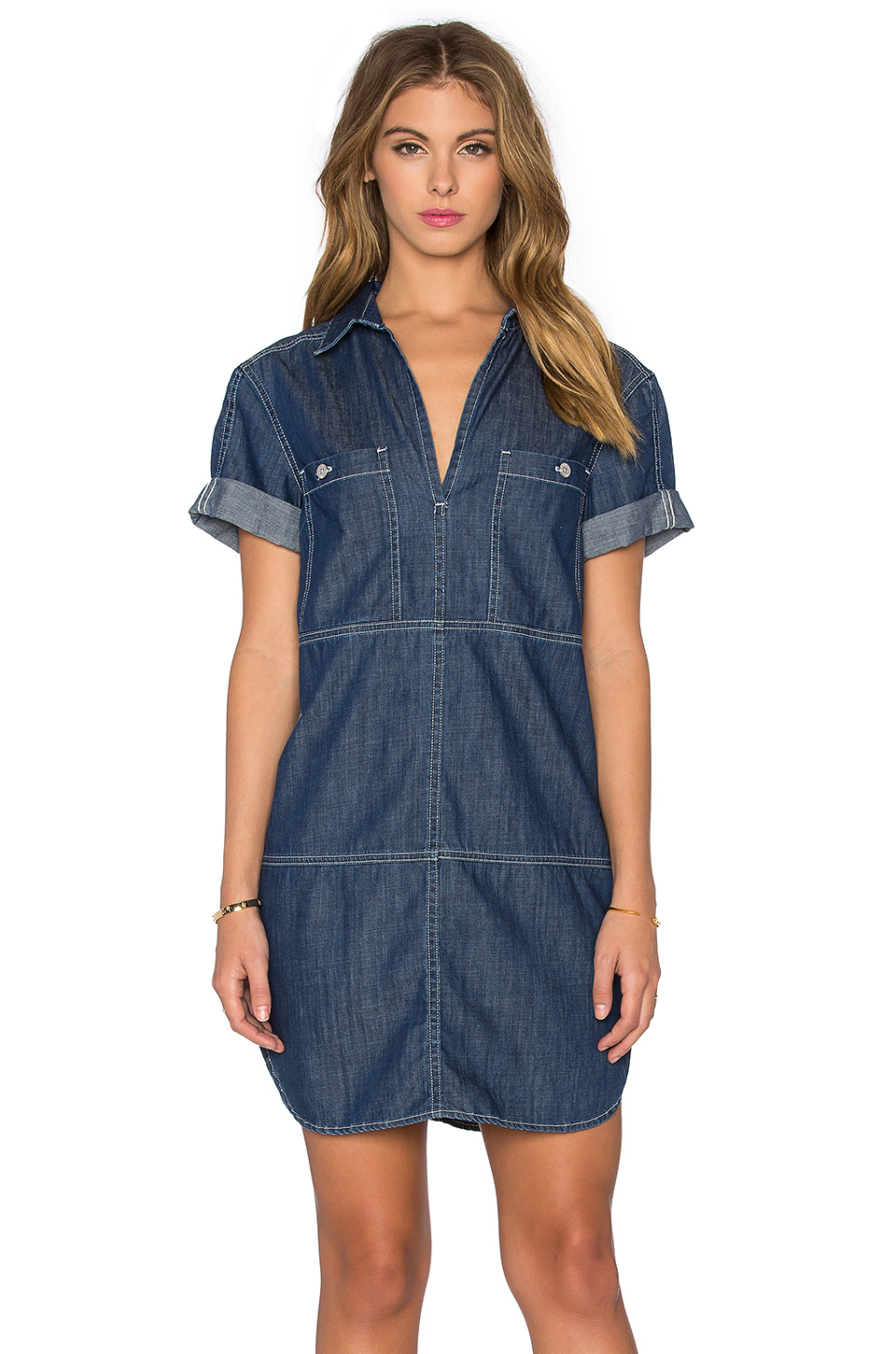 2bbd17582d4 7 For All Mankind V Neck Mini Dress in Blue - Lyst
