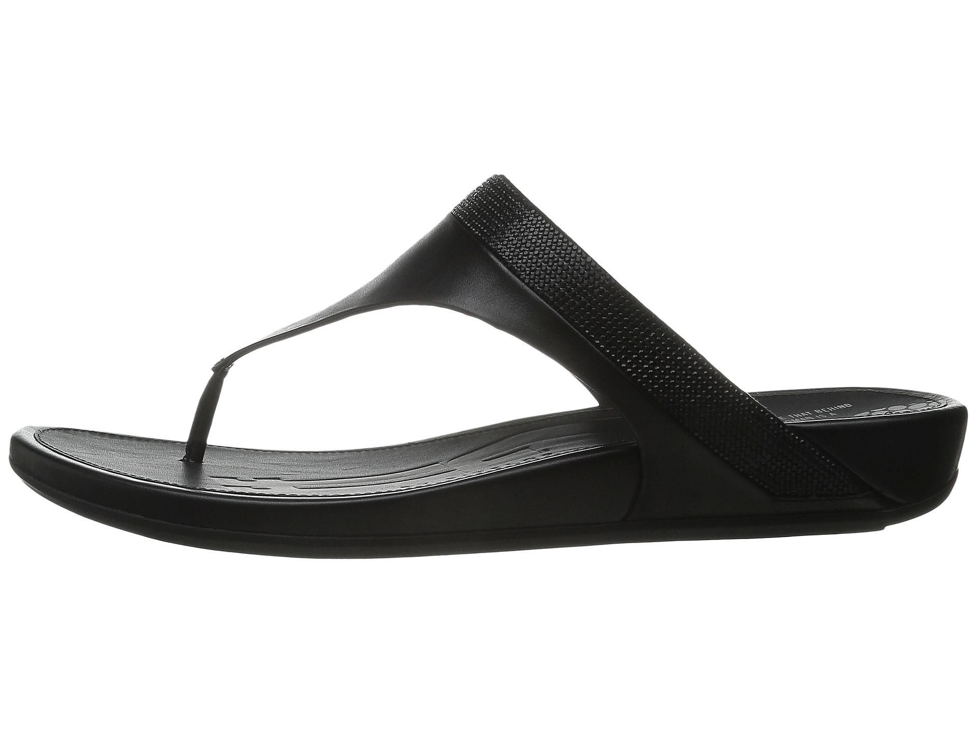 ebfee8b8848981 Lyst - Fitflop Banda Micro-crystal Toe Post™ in Black