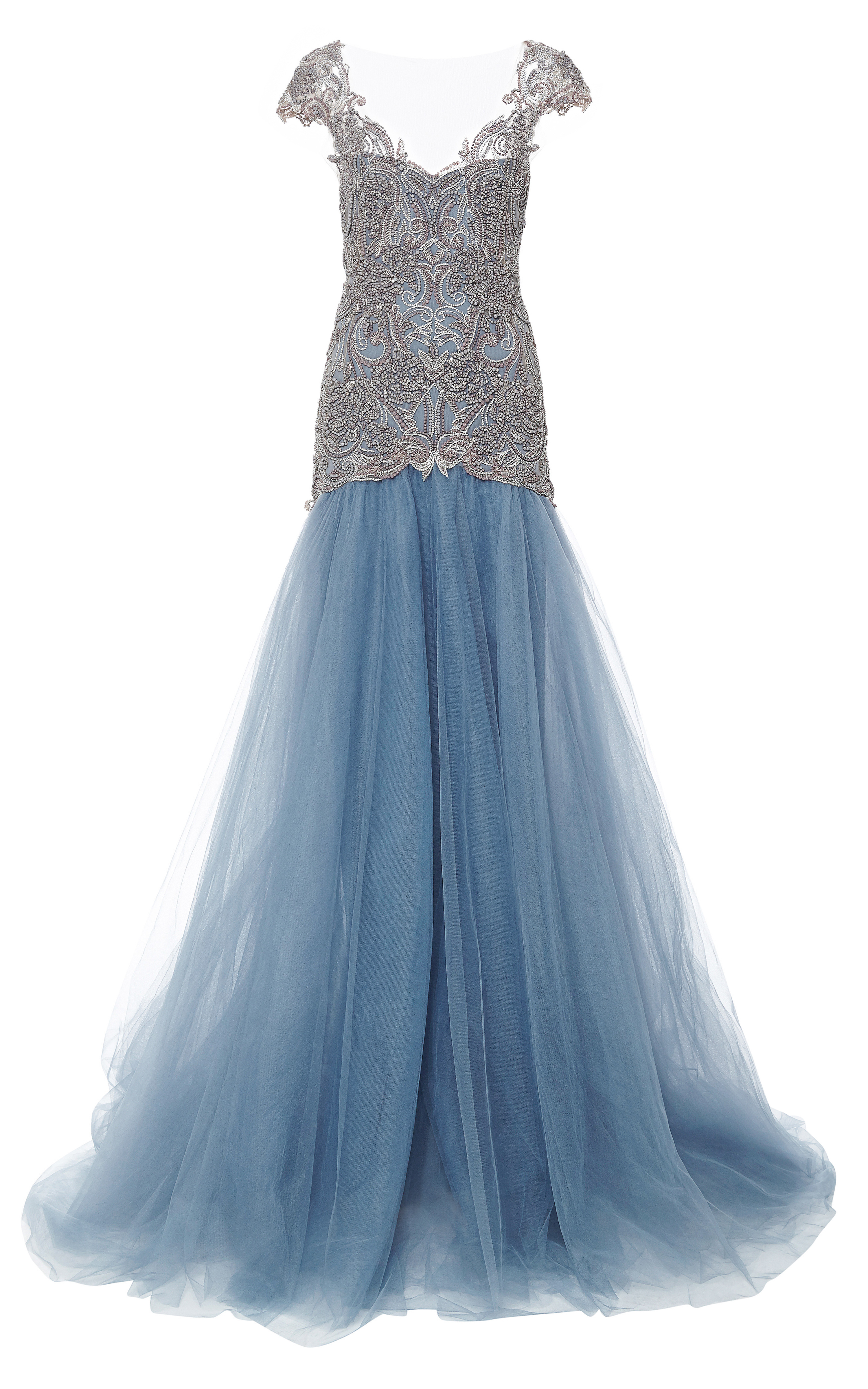 Lyst - Marchesa Embroidered Drop Waist Ball Gown in Blue
