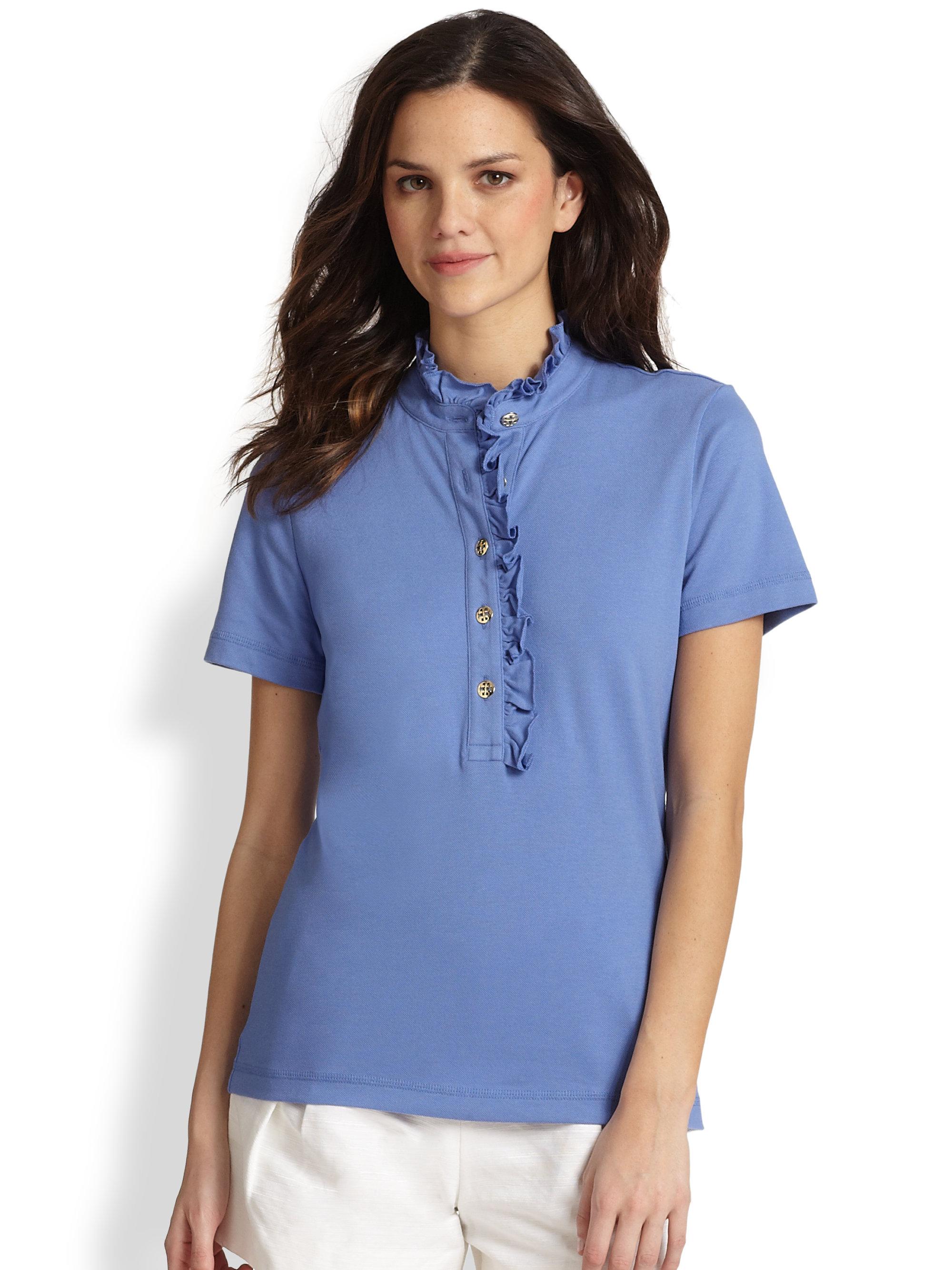 Tory Burch Lidia Ruffled Polo Shirt In Blue Wedge Blue