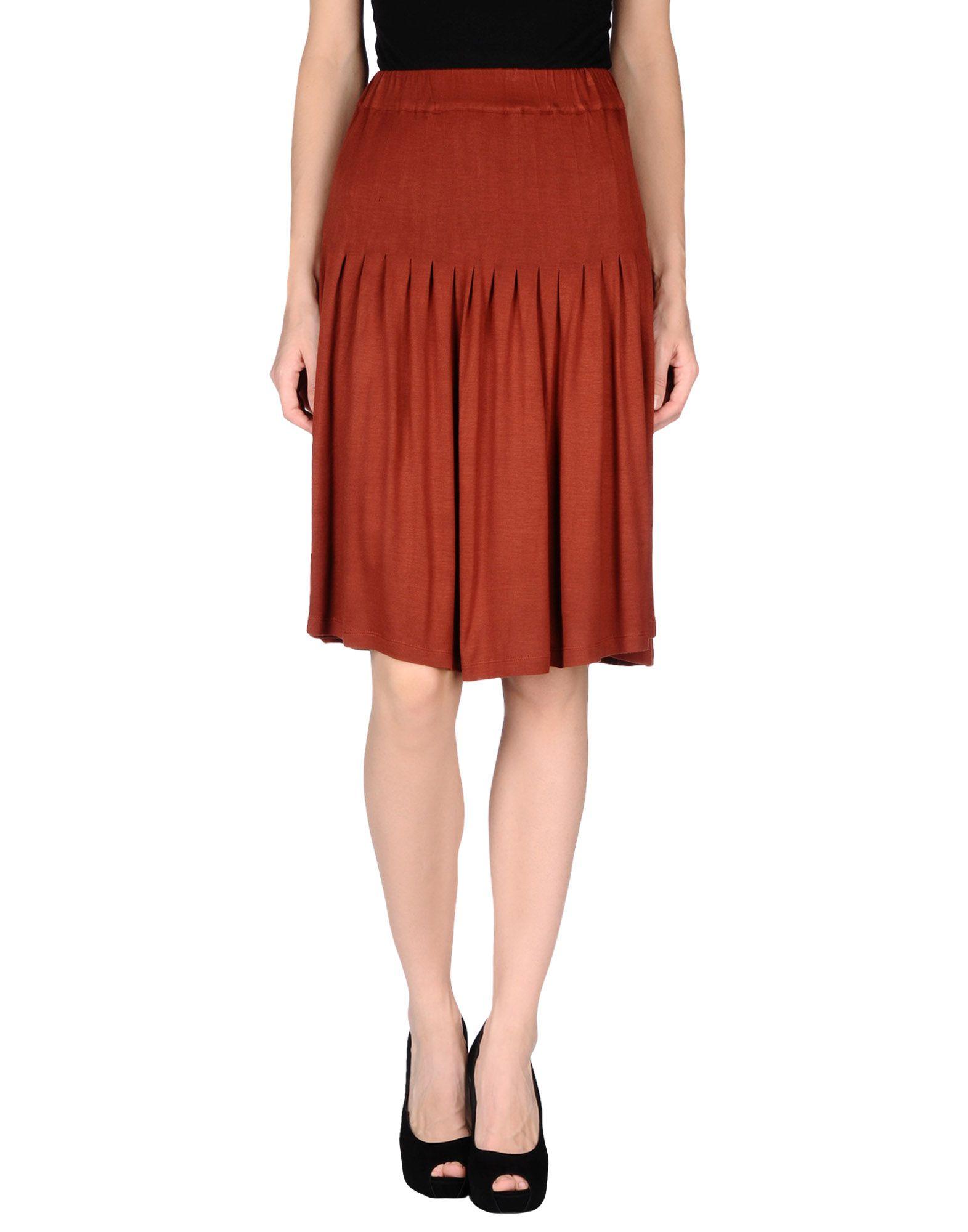 siyu knee length skirt in brown save 79 lyst