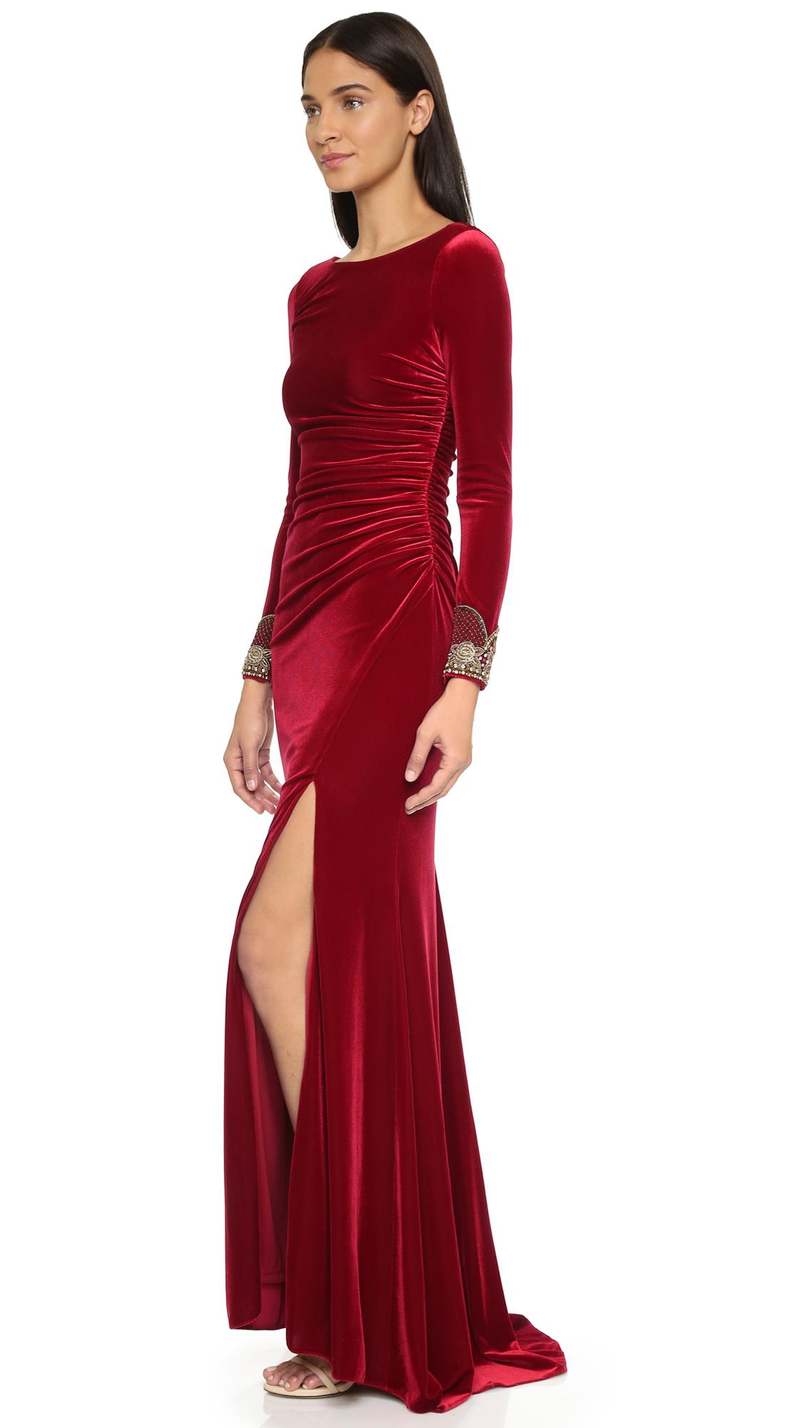 773a40102036 Lyst - Badgley Mischka Velvet Long Sleeve Dress - Crimson in Red