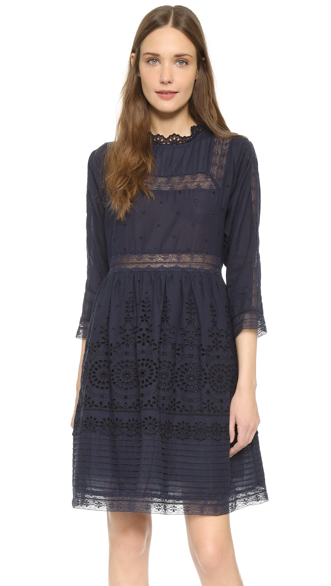 Sea Eyelet Lace Combo Dress - Navy in Blue | Lyst