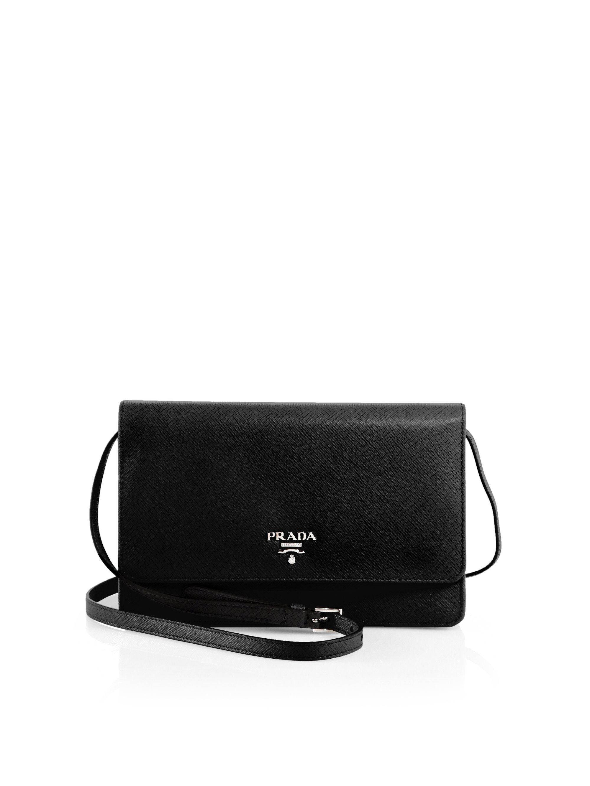 Prada Saffiano Crossbody Clutch in Black (NERO-BLACK) | Lyst