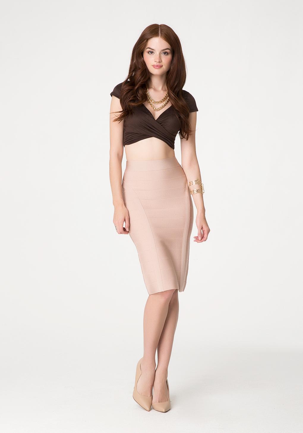 Bebe Solid Bandage Midi Skirt in Pink | Lyst