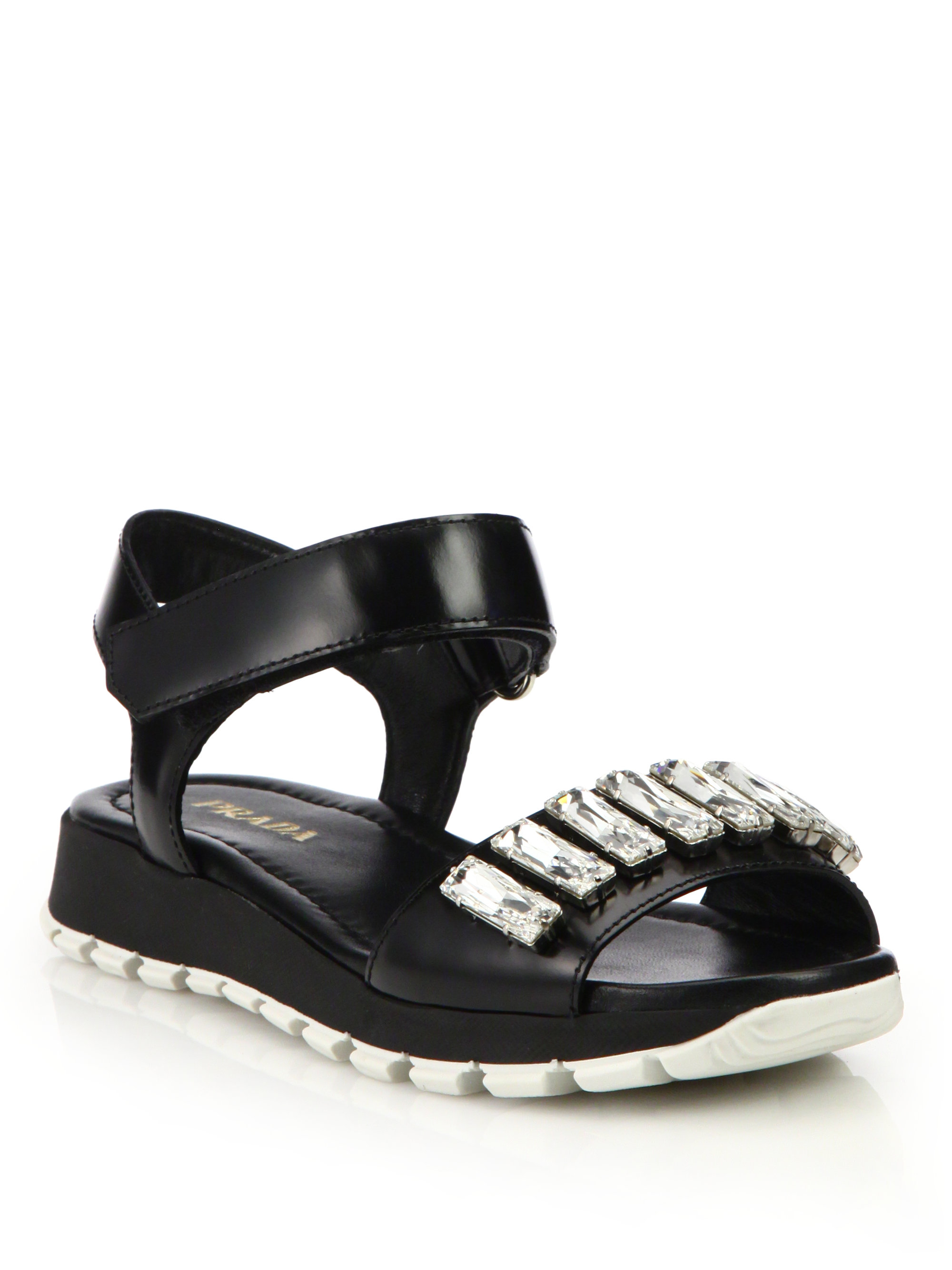 crystal embellished sandals - Black Prada