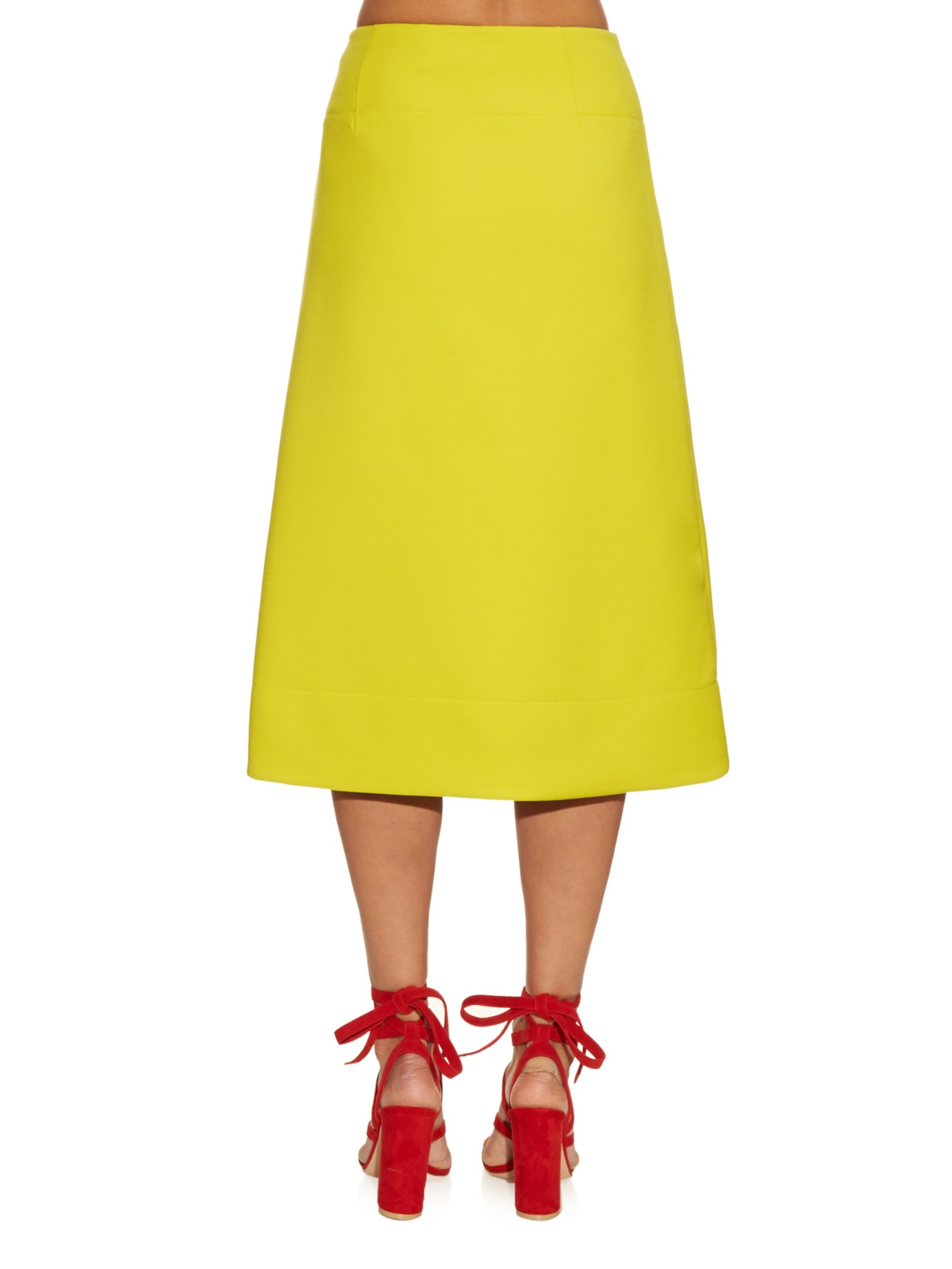 Marni High-waisted Wool Midi Skirt in Yellow | Lyst