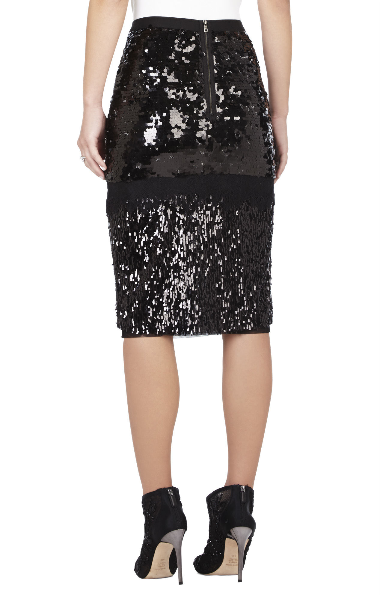 bcbgmaxazria cristal mixed sequined pencil skirt in black