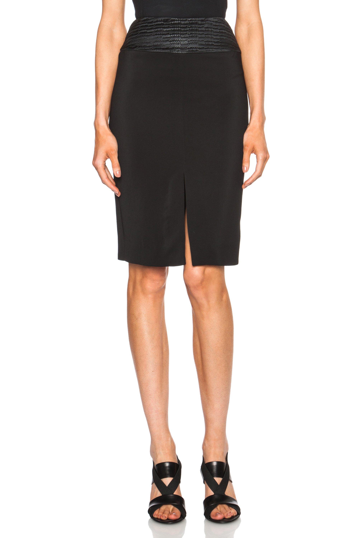 l agence front slit viscose blend pencil skirt in black lyst