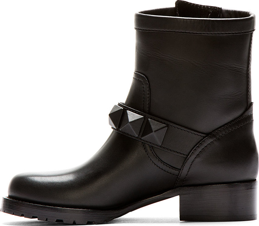 fd9dee05e6c7 Lyst - Valentino Black Leather Covered stud Biker Boots in Black