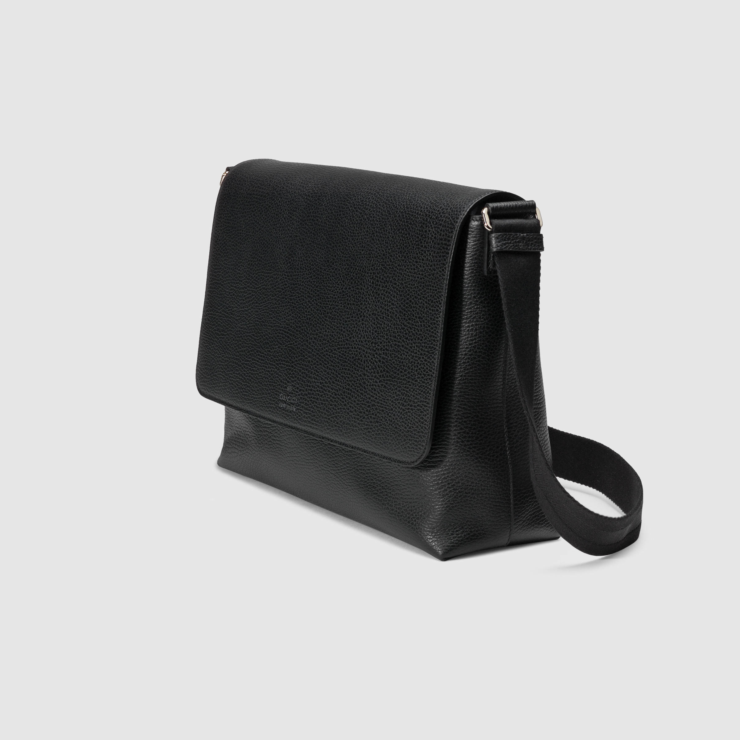 a3cac9636ed451 Gucci Leather Messenger Bag in Black for Men - Lyst