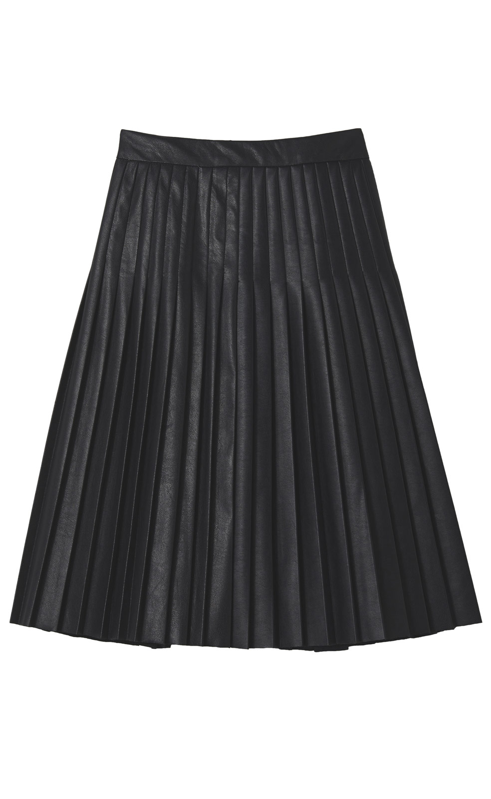 Rebecca taylor Faux Leather Pleated Skirt in Black | Lyst