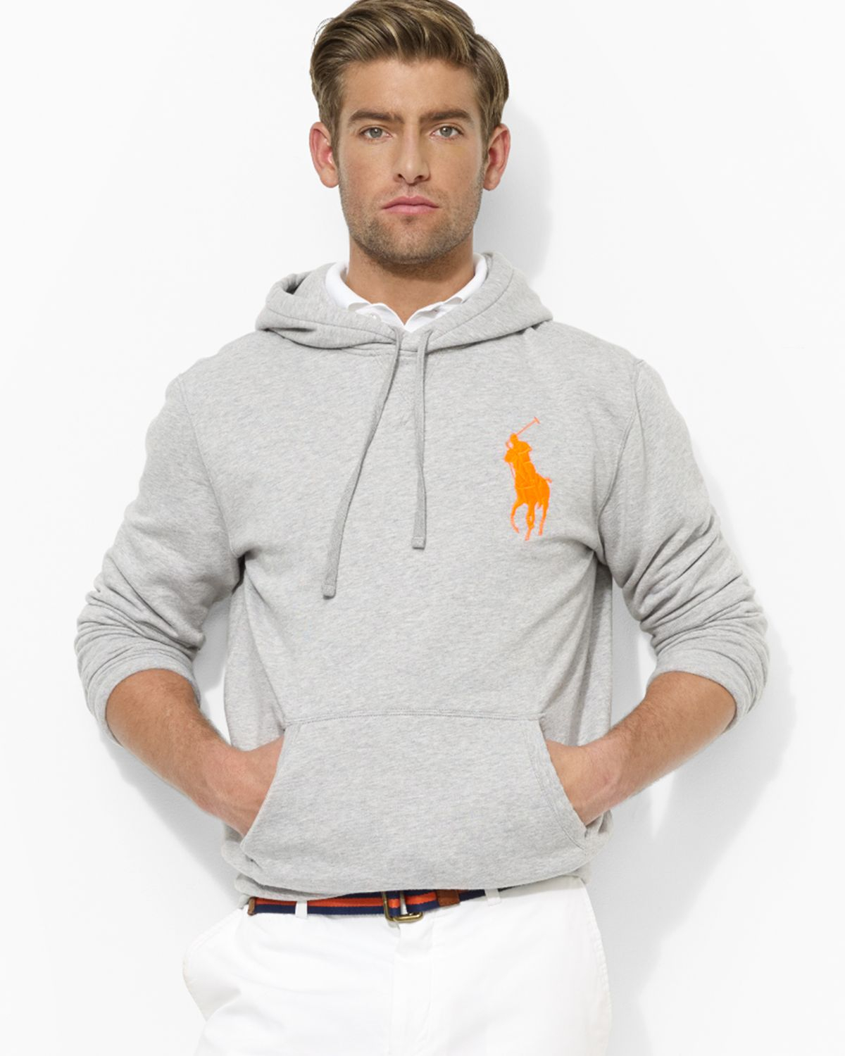 ralph lauren polo big pony beach fleece pullover hoodie in gray for men lyst. Black Bedroom Furniture Sets. Home Design Ideas