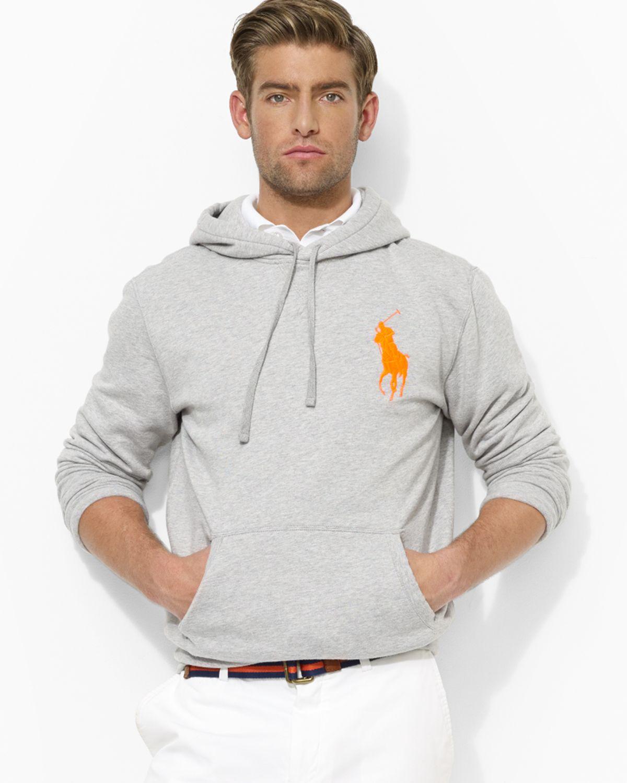 ralph lauren polo big pony beach fleece pullover hoodie in gray for men spring heather lyst. Black Bedroom Furniture Sets. Home Design Ideas