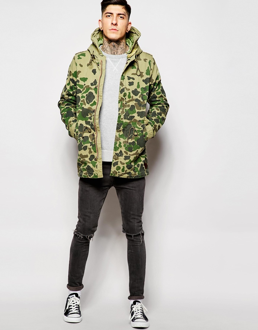 Lyst - Scotch u0026 soda Camo Parka Jacket in Green for Men