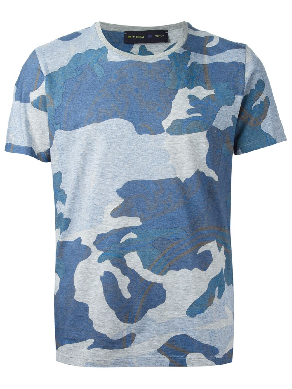 75ec757e Etro Camouflage T-Shirt in Blue for Men - Lyst