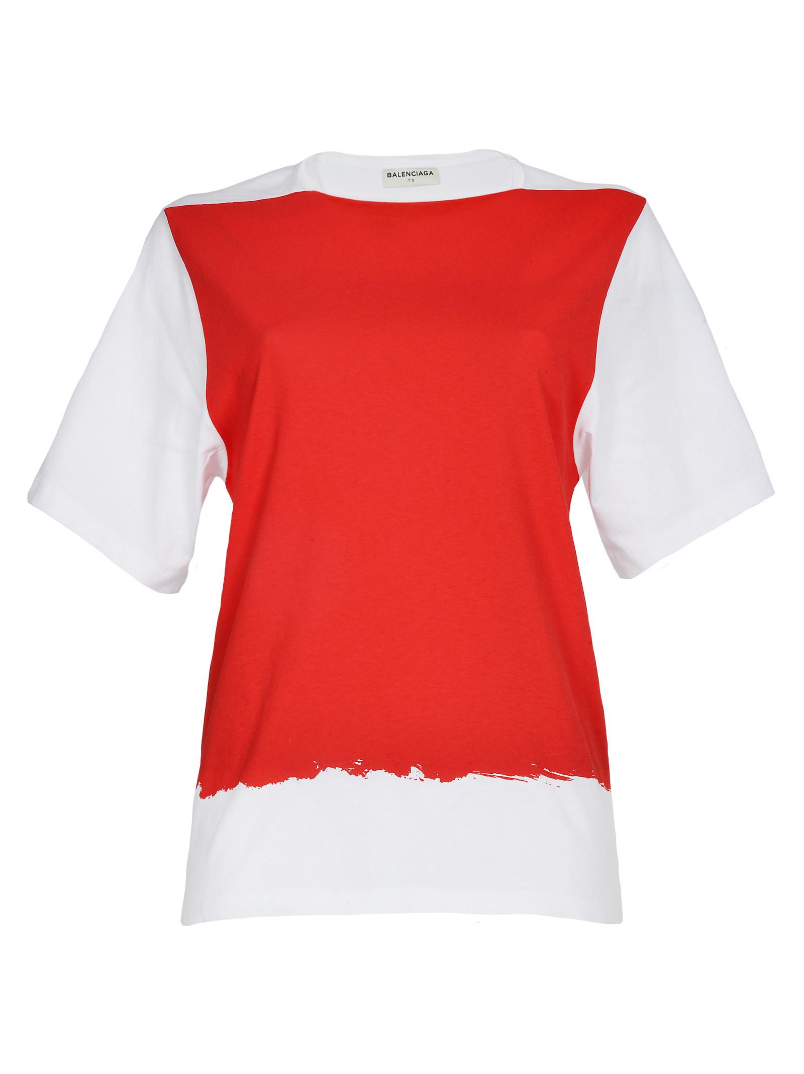 Balenciaga Tshirt Kimono In Red Bianco Rosso Lyst