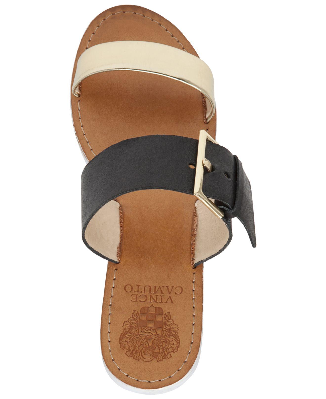 Vince Camuto Motter Flat Slide Sandals In Black Lyst