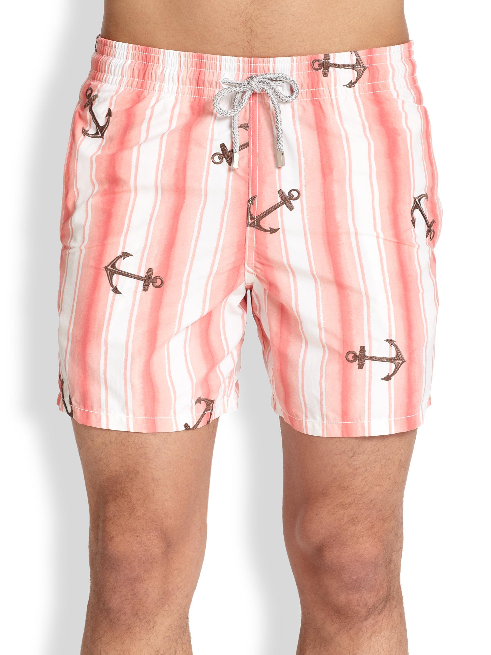 cbc4090272 Vilebrequin Motu Anchor-Print Swim Trunks in Pink for Men - Lyst