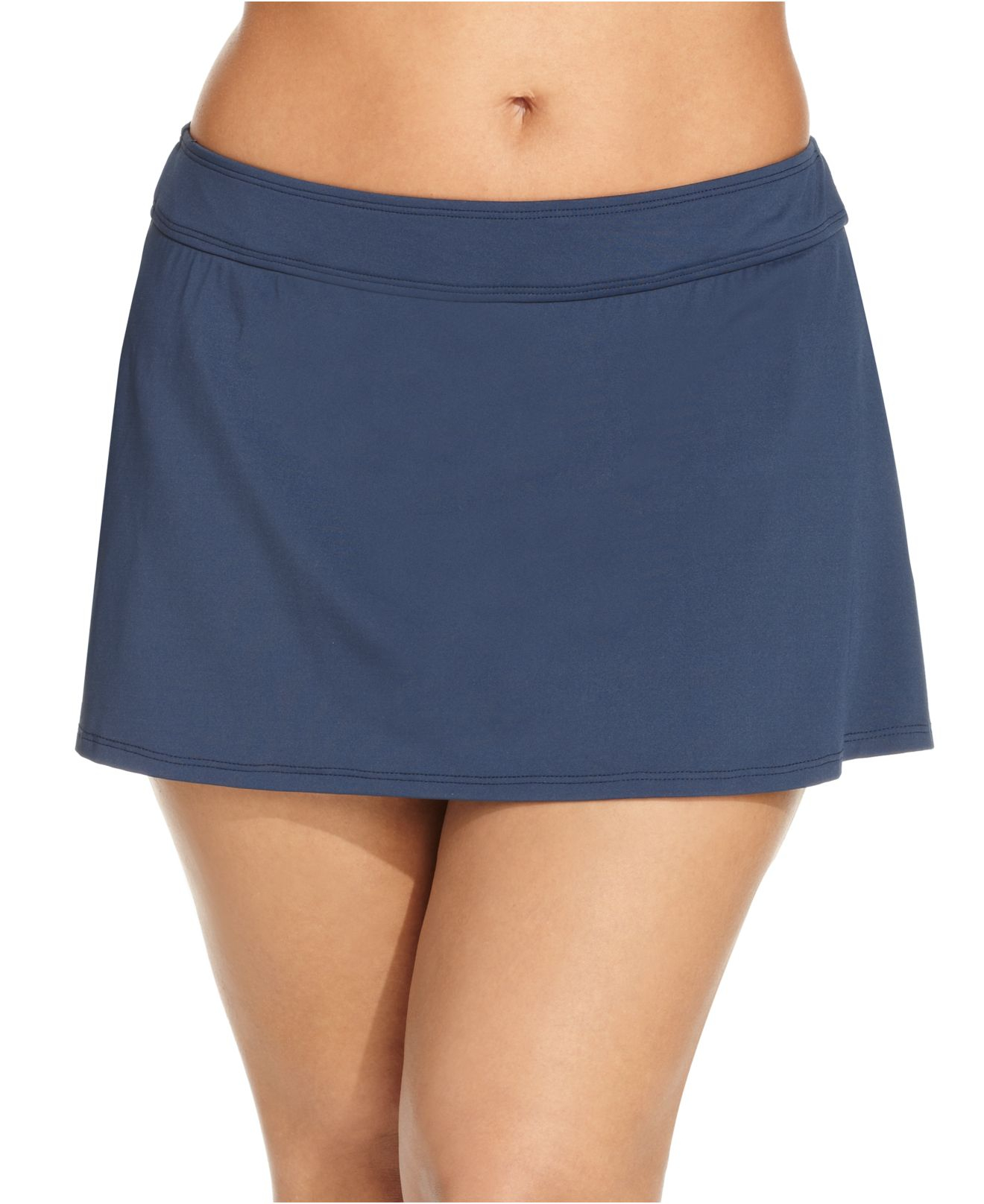 cole plus size solid swim skirt in blue navy lyst